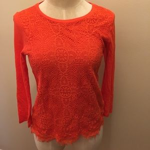 J. Crew Red Lace Top